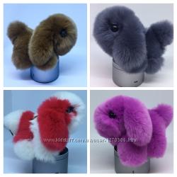 Брелки-Собачки из меха кролика, пушистые брелки