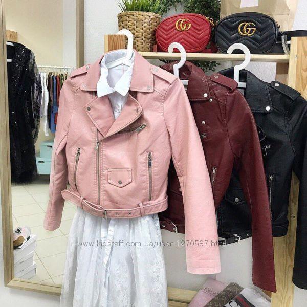 Курточка-косуха, кожанка, куртка экокожа черная, пудра, розовая, голубая, г