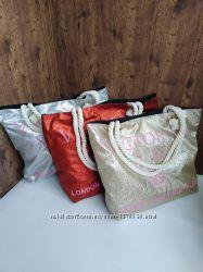 Пляжная сумка Victoria&acutes Secret с шиммером. Красная, золото и серебро.