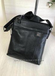 Мужская сумка планшеткаиз натуральной кожи черного и темно-синего цвета