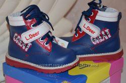 Фирменные демисезонные ботинки на мальчика,  тм Little Deer, 22р кожа