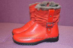 Сапоги ботинки полусапожки зимние на девочку кожа цигейка 27 р 18 см стельк