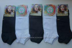 Женские носки, короткие, хлопок, с элементами сетки. Разные цвета, р-р 36-4