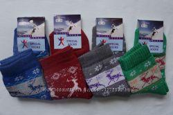 Женские теплые махровые носки олени, хлопок, качественные. Размер 36-39.