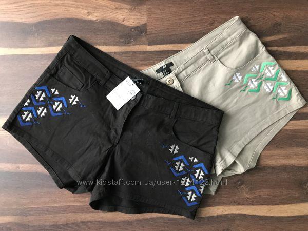 стильные женские шорты с вышивкой H&M