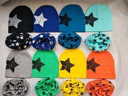 Детские трикотажные демисезонные наборы шапка и хомут снуд баф шарф
