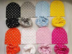 Модные трикотажные демисезонные наборы шапка и хомут снуд баф шарф Bape kid
