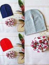 Демисезонные трикотажные детские наборы шапка и снуд