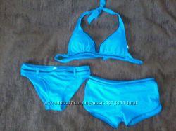 Стильный купальник тройка насыщенного голубого цвета
