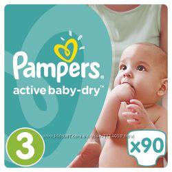 Подгузники памперсы Pampers Activ Baby Dry 1-86, 2-100, 3-90, 4-76, 470, 5-