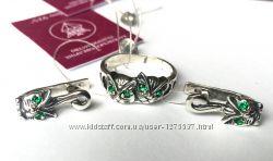 Новый красивый серебряный набор кошечки Серебро 925 пробы