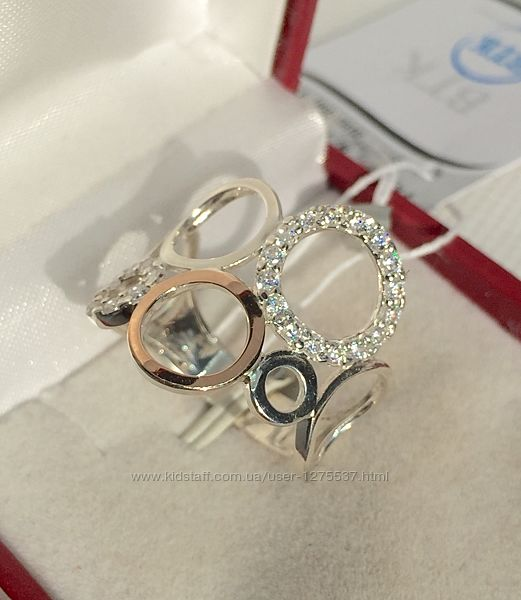 Новое серебряное кольцо золотые пластины куб. цирконий серебро 925 пробы