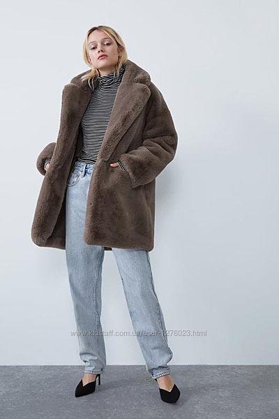 Шуба Zara полушубок шикарный цвет хит сезона мутон эко мех