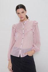Шикарная блуза zara нежная роза в горошек самый модный принт лета хит сезон