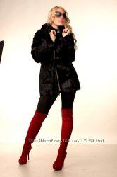 Женская шуба из меха нутрии. Приталенная куртка на змейке М21