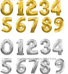 Шары- цифры фольгированные золото, серебро и цветные-35см.