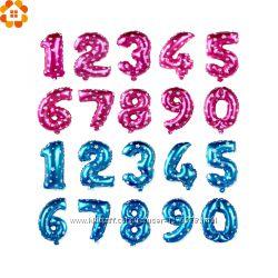 Цифры шарики фольгированные разноцветные  розовые и голубые - в наличии.