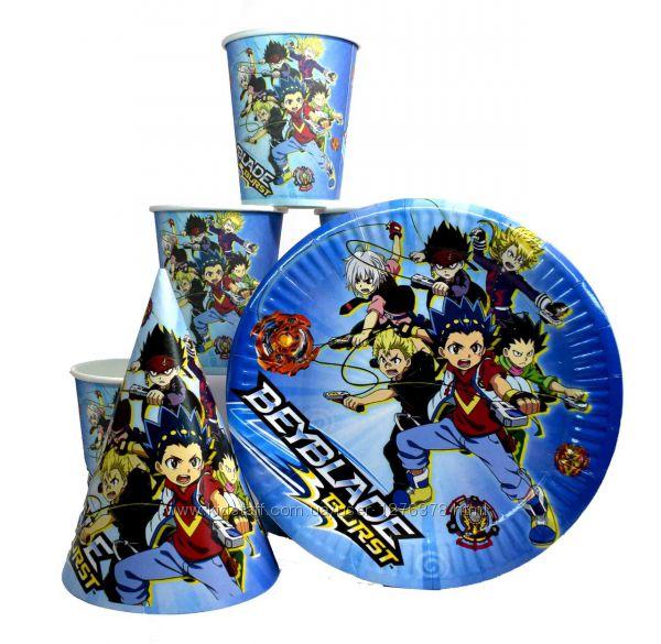 Набор детской одноразовой посуды  Бейблэйд  Beyblade  Бейблейд