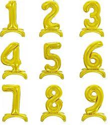 Шары цифры на подставке  трехмерные   золото , 80 см.