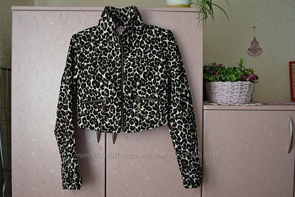 X/S Стильная укороченная куртка, жакет с леопардовым принтом. Dept