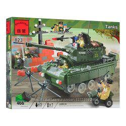Конструктор Военный танк 466 деталей Brick-823