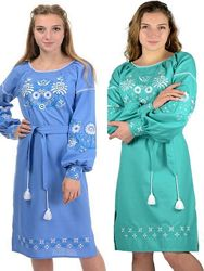 Стильное платье свободного кроя-вышиванка, рубаха с длинным рукавом