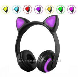 Наушники с ушками беспроводные с кошачьими ушками LED подсветка 7 цветов