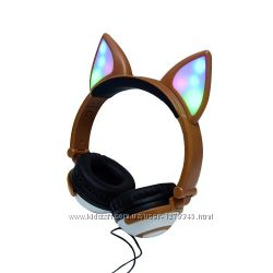 Наушники с лисьеми ушками светящиеся LINX Bear Ear Headphone Лисички LED