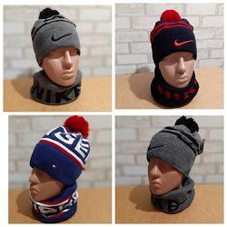 Комплект шапкахомут nike, t. hilfiger отличное качество цвета