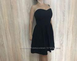 Платье-сарафан миди RiverIsland размер 10 черное хлопок лето выпускной