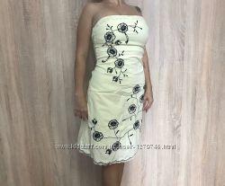 Платье-сарафан миди JaneNorman лето бежевое с цветами разм. 10 хлопок