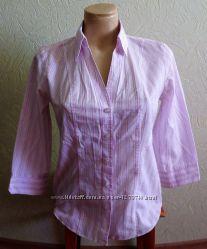 Блуза-рубашка Marks&Spencer размер 8 на пуговицах розово-белая полоска