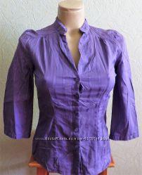 Блуза-рубашка H&M размер 4 офисная на пуговицах сиреневая хлопок новая
