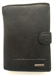 Кошелек черный кожаный с визитницей унисекс