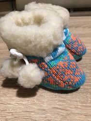 Детские пинетки сапожки домашние на овчине новые 11 см