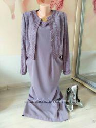 Женский нарядный комплект. Платье и жакет вышитый бисером