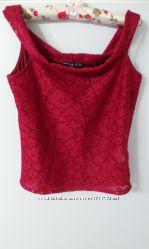 Блуза-топ кружевная с открытыми плечами, бордо, р-р l-xl