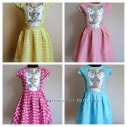 Детское летнее платье на девочку с пайетками хлопок