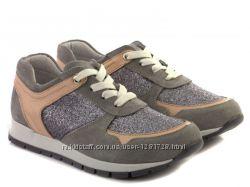 Новые кожаные кроссовки с глиттером 37 38