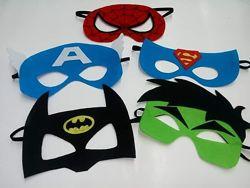 Маска з фетру супергерої Спайдермен, Бетмен, Халк Супермен Капітан Америка