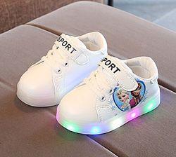 Детские кроссовки светящиеся Эльза Холодное сердце