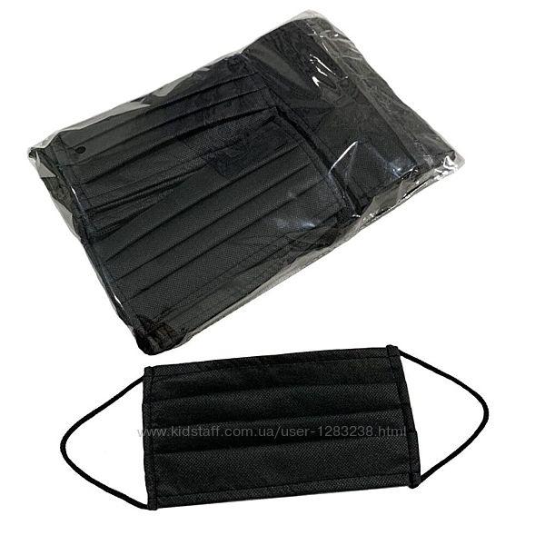 Черные медицинские маски 50 шт упаковка