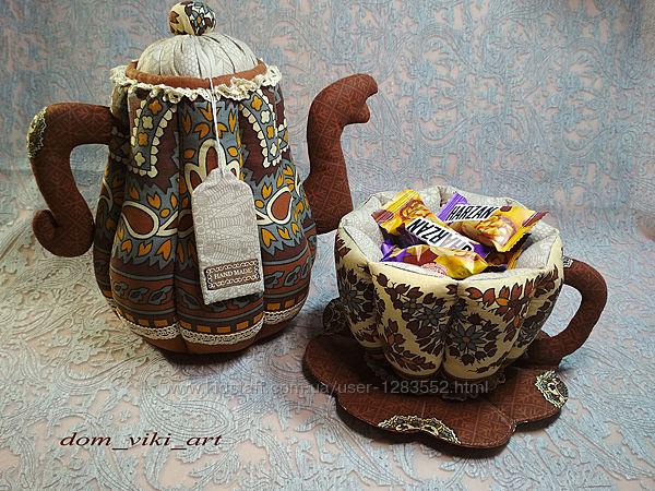 Чайник и чашка - текстильный подарочный набор - ручная работа.