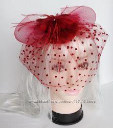 Вуалька вуаль, вуалетка, шляпка темно-синяя, красная, оранжевая, фиолетовая