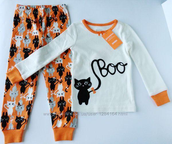 Пижама Черная кошка для девочки 2 и 5 лет, рост 84-92 и 107-115 см