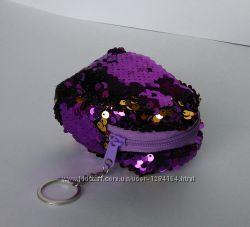 Детский кошелек с пайетками синий, розовый, фиолетовый
