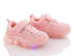 Детские LED кроссовки Девочка Размеры 26- 36 Розовые Серебро Золото