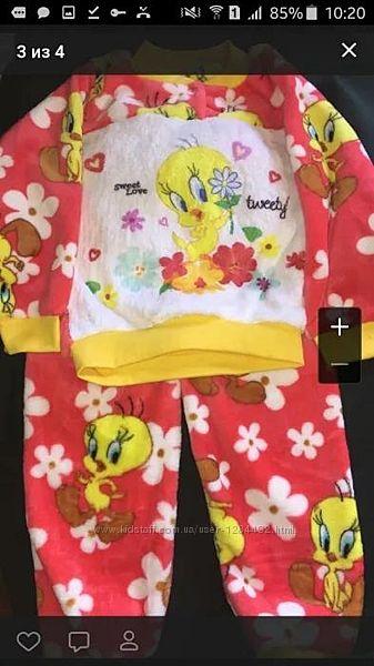 Детская теплая махровая пижама вельсофт
