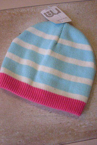 Осенняя полосатая шапка двойная Mothercarе. На 1-3 года.