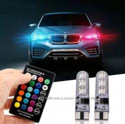 Автомобильные цветные лампы габаритов, ходовые огни RGB LED T10 W5W